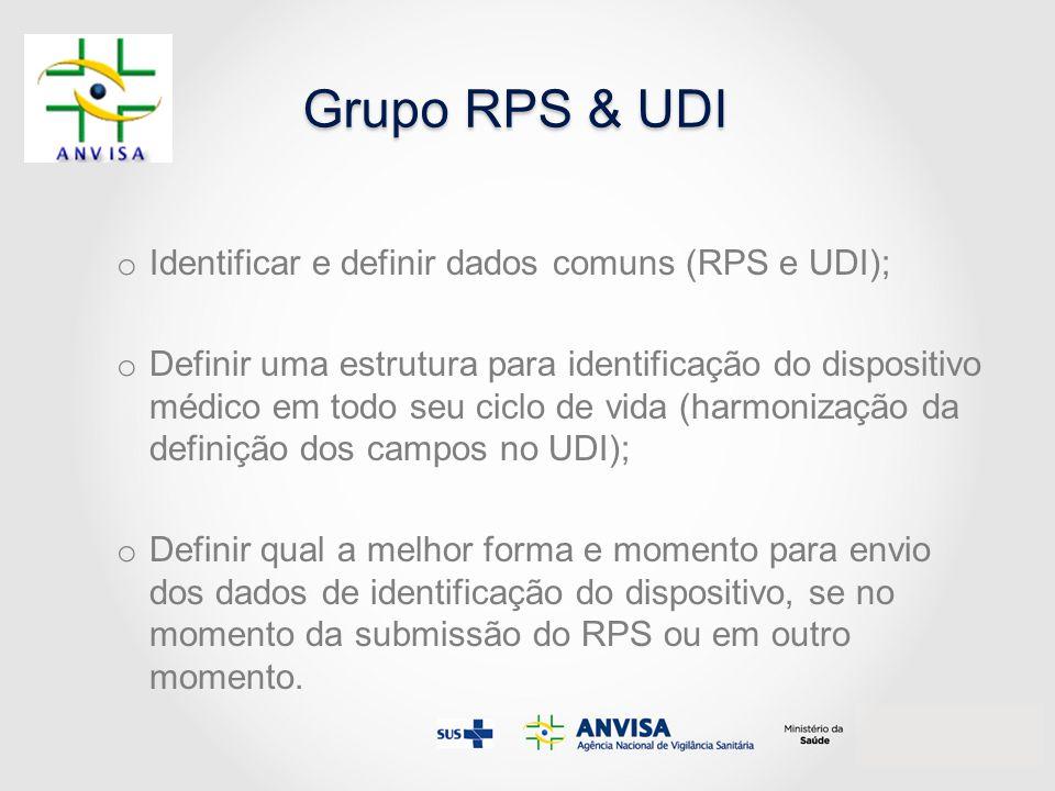Grupo RPS & UDI o Identificar e definir dados comuns (RPS e UDI); o Definir uma estrutura para identificação do dispositivo médico em todo seu ciclo d