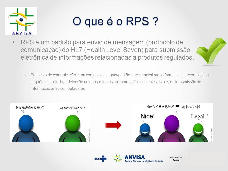 O que é o RPS ? RPS é um padrão para envio de mensagem (protocolo de comunicação) do HL7 (Health Level Seven) para submissão eletrônica de informações
