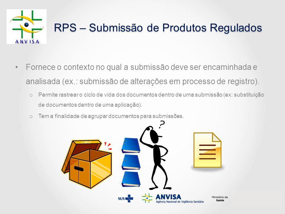 RPS – Submissão de Produtos Regulados Fornece o contexto no qual a submissão deve ser encaminhada e analisada (ex.: submissão de alterações em process