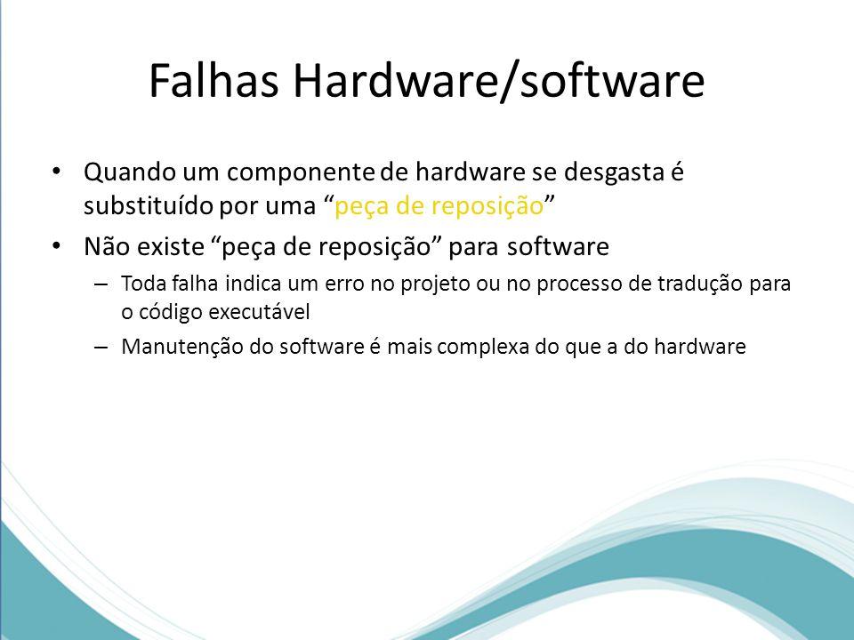 Falhas Hardware/software Quando um componente de hardware se desgasta é substituído por uma peça de reposição Não existe peça de reposição para software – Toda falha indica um erro no projeto ou no processo de tradução para o código executável – Manutenção do software é mais complexa do que a do hardware