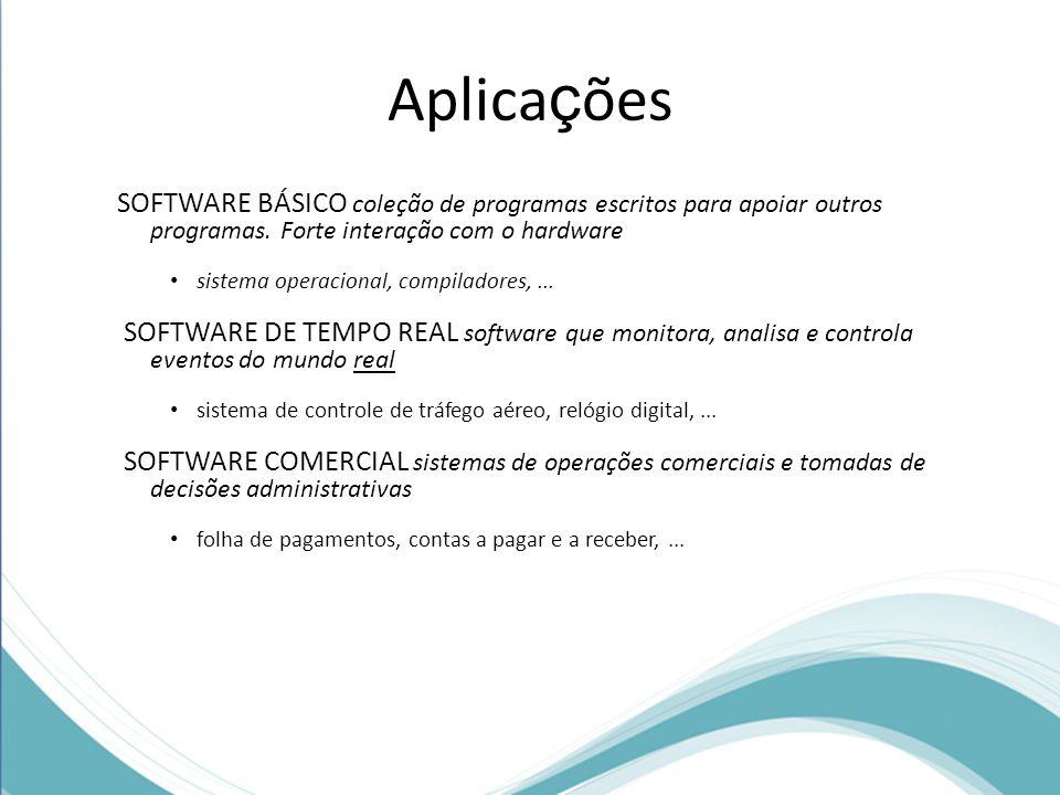 Aplica ç ões SOFTWARE BÁSICO coleção de programas escritos para apoiar outros programas.