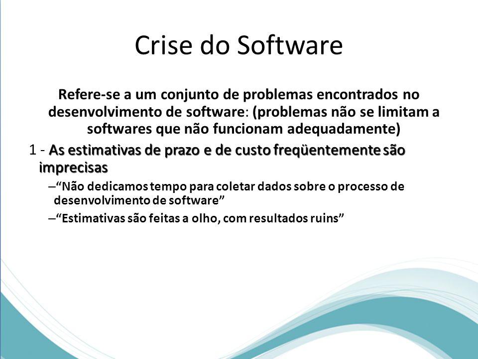 Crise do Software Refere-se a um conjunto de problemas encontrados no desenvolvimento de software: (problemas não se limitam a softwares que não funcionam adequadamente) As estimativas de prazo e de custo freqüentemente são imprecisas 1 - As estimativas de prazo e de custo freqüentemente são imprecisas – Não dedicamos tempo para coletar dados sobre o processo de desenvolvimento de software – Estimativas são feitas a olho, com resultados ruins