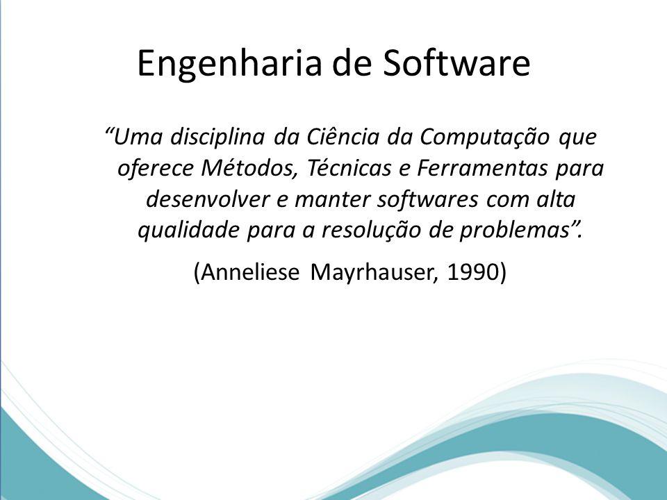 Engenharia de Software Uma disciplina da Ciência da Computação que oferece Métodos, Técnicas e Ferramentas para desenvolver e manter softwares com alta qualidade para a resolução de problemas .
