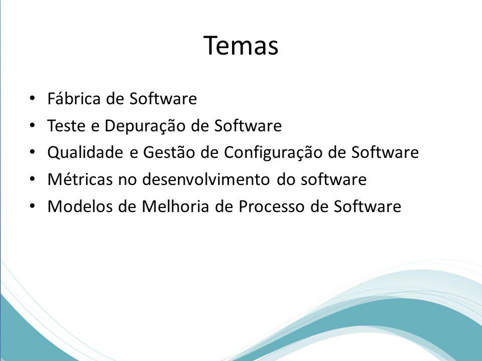 Temas Fábrica de Software Teste e Depuração de Software Qualidade e Gestão de Configuração de Software Métricas no desenvolvimento do software Modelos de Melhoria de Processo de Software