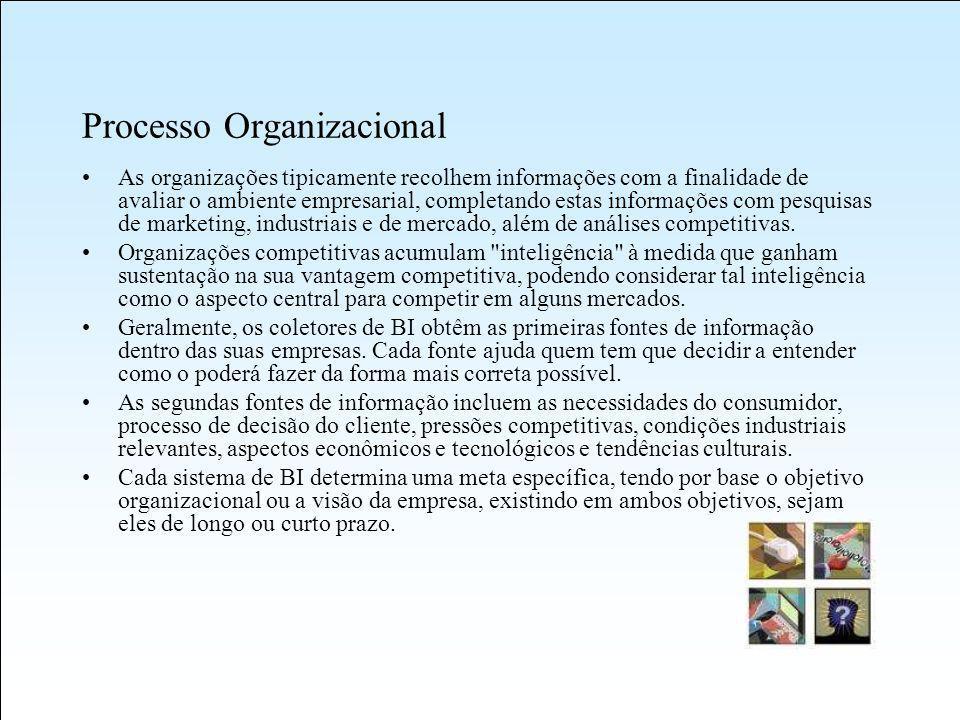 Processo Organizacional As organizações tipicamente recolhem informações com a finalidade de avaliar o ambiente empresarial, completando estas informações com pesquisas de marketing, industriais e de mercado, além de análises competitivas.
