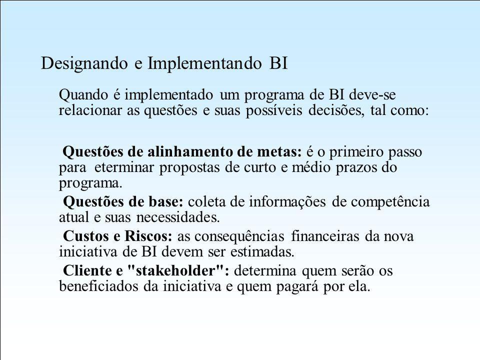 Designando e Implementando BI Quando é implementado um programa de BI deve-se relacionar as questões e suas possíveis decisões, tal como: Questões de alinhamento de metas: é o primeiro passo para eterminar propostas de curto e médio prazos do programa.