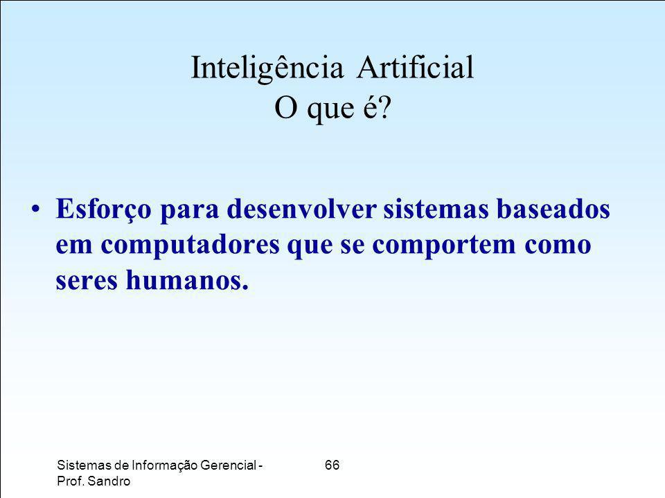 Sistemas de Informação Gerencial - Prof.Sandro 66 Inteligência Artificial O que é.
