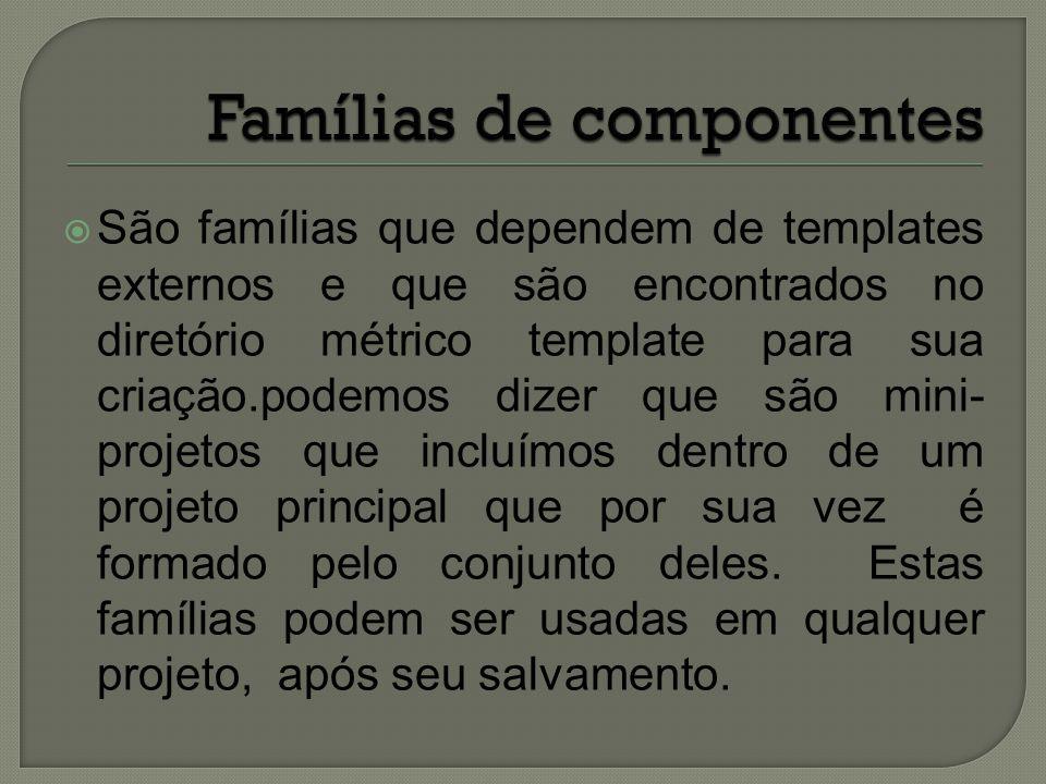  São famílias que dependem de templates externos e que são encontrados no diretório métrico template para sua criação.podemos dizer que são mini- pro