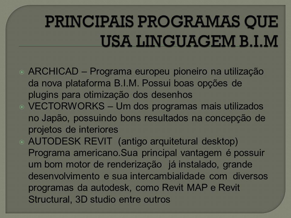  ARCHICAD – Programa europeu pioneiro na utilização da nova plataforma B.I.M. Possui boas opções de plugins para otimização dos desenhos  VECTORWORK