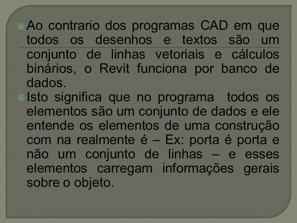  Ao contrario dos programas CAD em que todos os desenhos e textos são um conjunto de linhas vetoriais e cálculos binários, o Revit funciona por banco