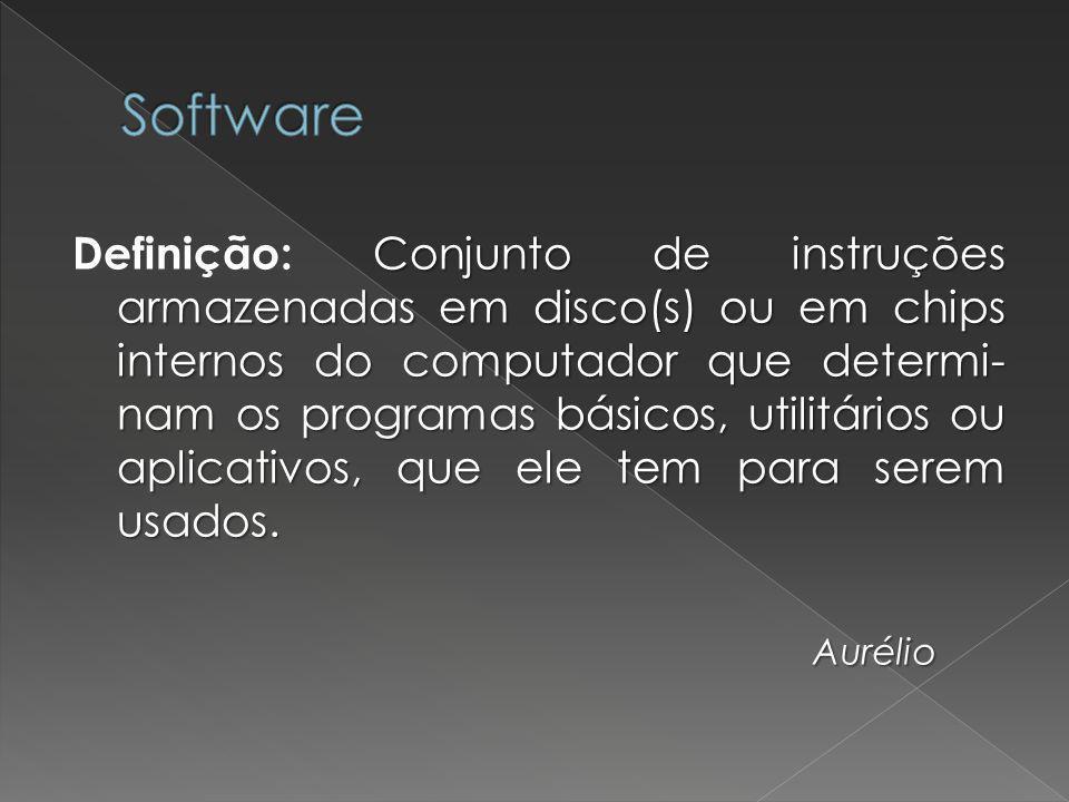 Conjunto de instruções armazenadas em disco(s) ou em chips internos do computador que determi- nam os programas básicos, utilitários ou aplicativos, q