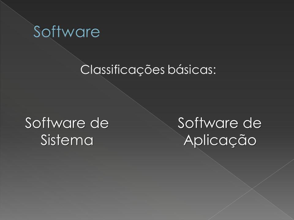 Classificações básicas: Software de Sistema Software de Aplicação