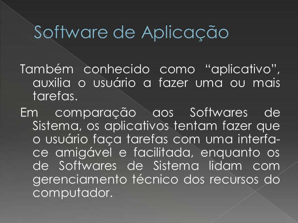 """Também conhecido como """"aplicativo"""", auxilia o usuário a fazer uma ou mais tarefas. Em comparação aos Softwares de Sistema, os aplicativos tentam fazer"""