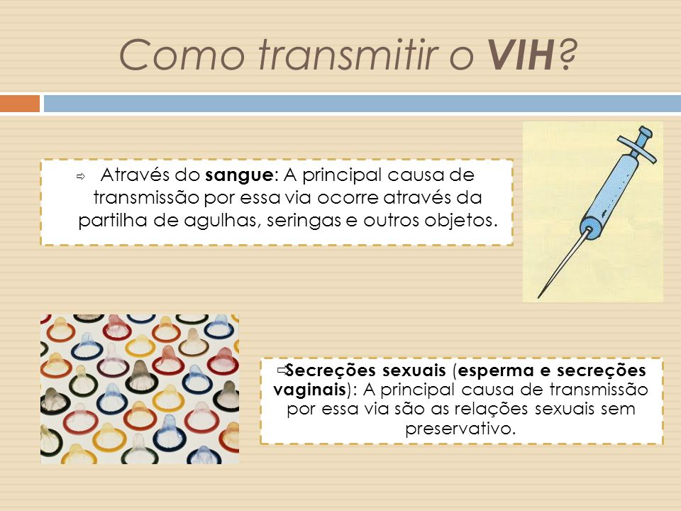 Como transmitir o VIH .