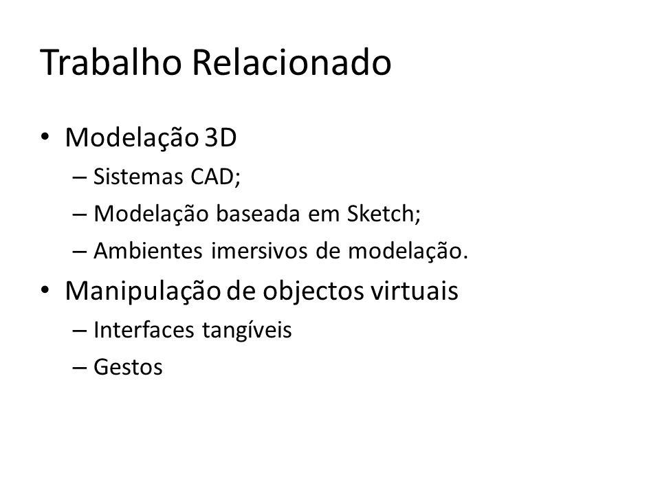 Trabalho Relacionado Modelação 3D – Sistemas CAD; – Modelação baseada em Sketch; – Ambientes imersivos de modelação.