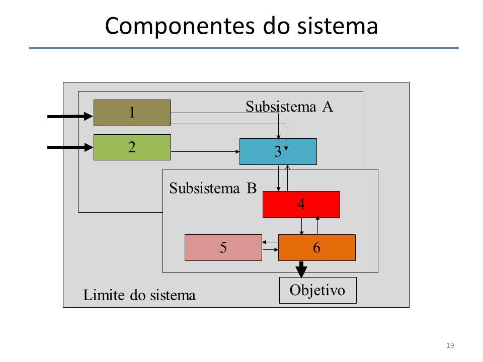 Subsistema B 3 2 4 65 Objetivo 1 Subsistema A Limite do sistema 19 Componentes do sistema Subsistema B