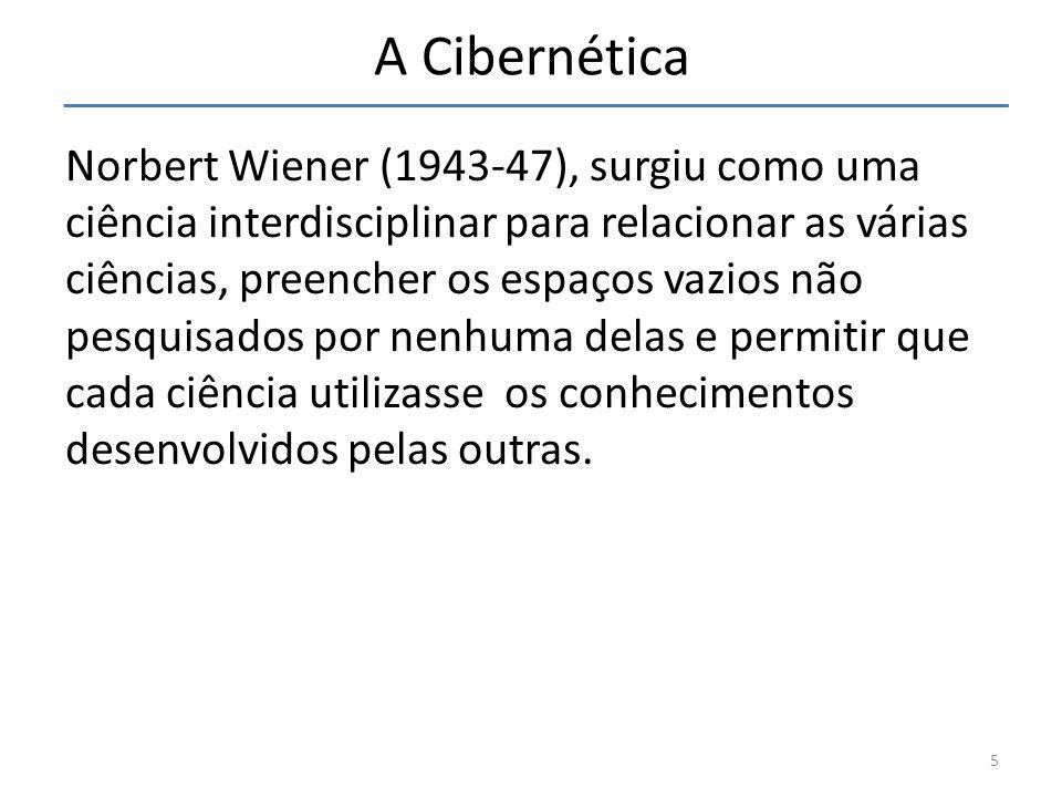 A Cibernética Norbert Wiener (1943-47), surgiu como uma ciência interdisciplinar para relacionar as várias ciências, preencher os espaços vazios não p