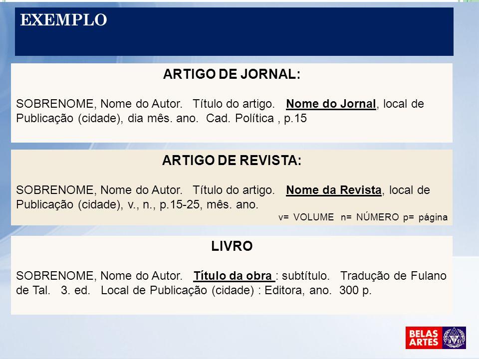 EXEMPLO ARTIGO DE JORNAL: SOBRENOME, Nome do Autor. Título do artigo. Nome do Jornal, local de Publicação (cidade), dia mês. ano. Cad. Política, p.15