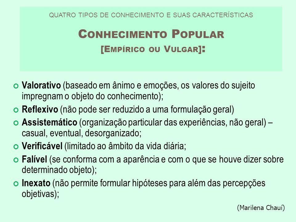 QUATRO TIPOS DE CONHECIMENTO E SUAS CARACTERÍSTICAS C ONHECIMENTO P OPULAR [E MPÍRICO OU V ULGAR ] : Valorativo (baseado em ânimo e emoções, os valore