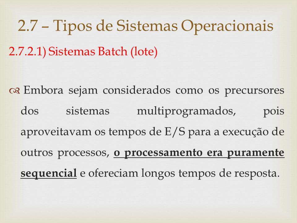 2.7.2.2) Sistemas de Tempo Compartilhado (time- sharing)  Os sistemas time-sharing permitem que diversos programas sejam executados a partir da divisão do tempo do processador em pequenos intervalos, denominados fatia de tempo (time-slice).
