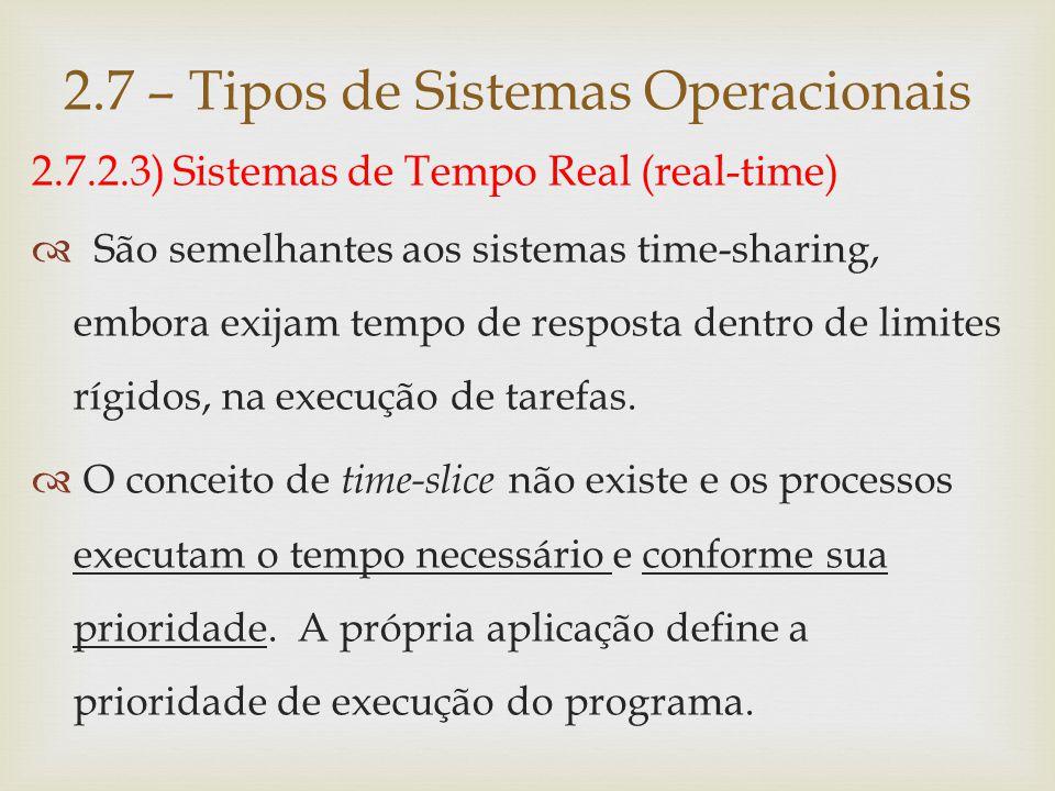 2.7.2.3) Sistemas de Tempo Real (real-time)  São sistemas muito utilizados em controle de processos, onde o tempo é um fator crucial: refinaria de petróleo, automação industrial, controle de tráfego aéreo etc..