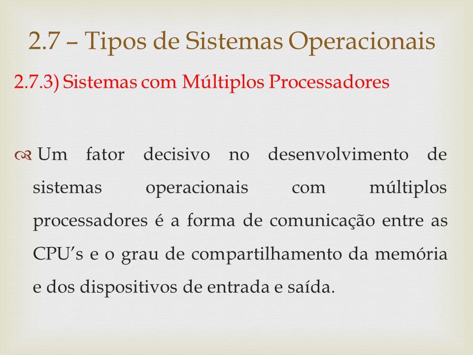 2.7.3) Sistemas com Múltiplos Processadores Os sistemas com múltiplos processadores são classificados em:  Fortemente acoplados ;  Fracamente acoplados.