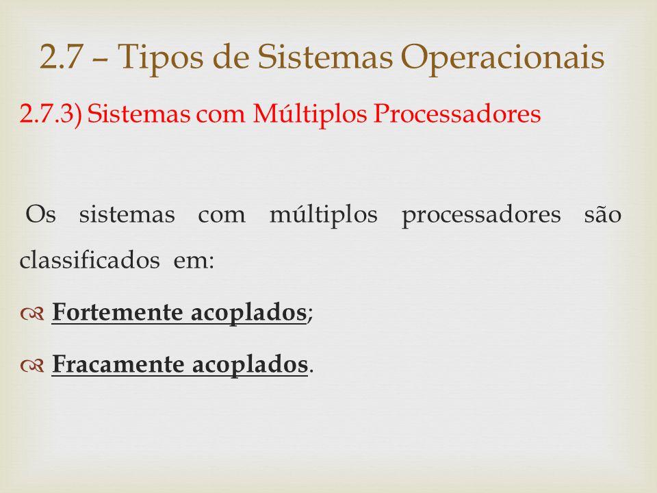 2.7.3.1) Sistemas fortemente acoplados (multiprocessadores)  Todos os processadores compartilham uma única memória.