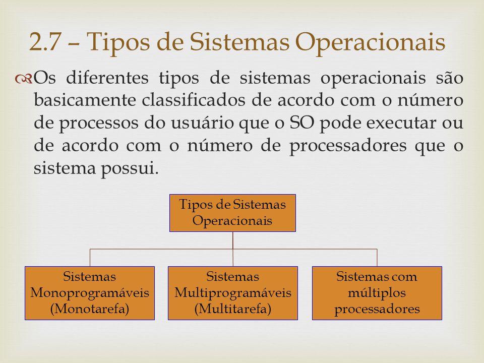 2.7.1) Sistemas Monoprogramáveis/Monotarefa Possui as seguintes características:  É executado por um único processador e é capaz de gerenciar a execução de um único programa (tarefa) do usuário por vez.
