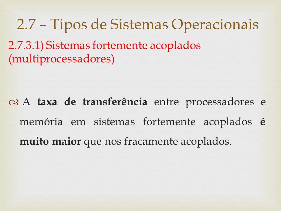 2.7.3.1) Sistemas fortemente acoplados 2.7 – Tipos de Sistemas Operacionais