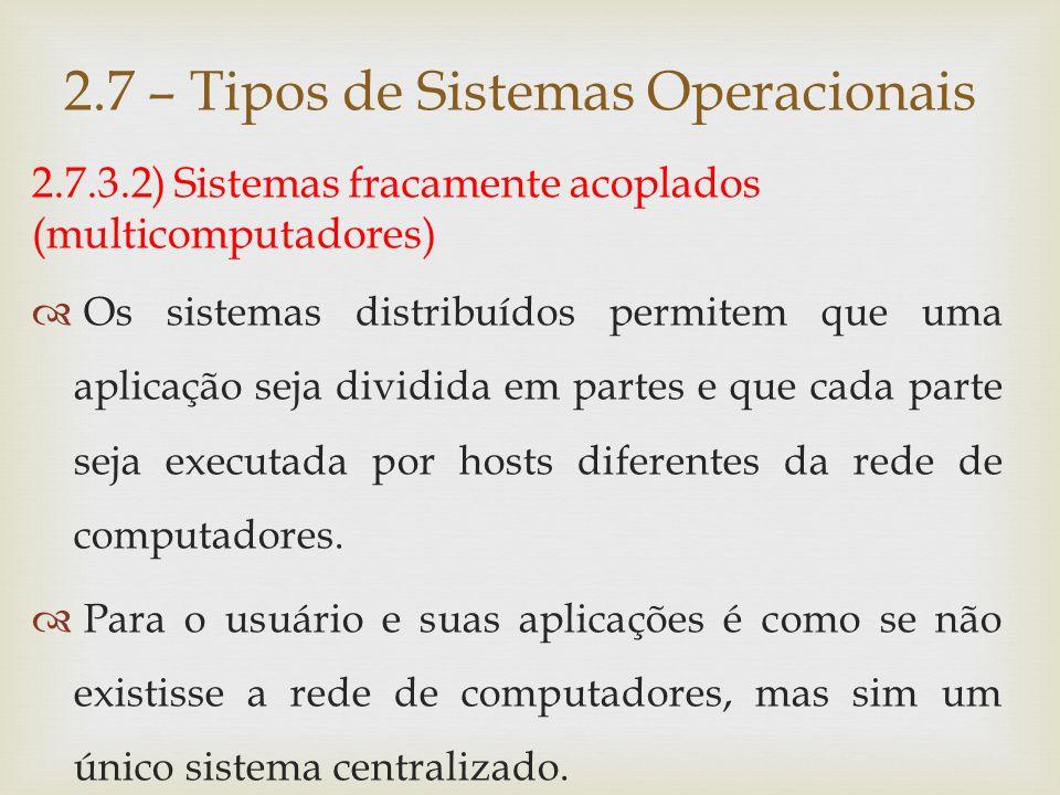 2.7.3.2) Sistemas fracamente acoplados (multicomputadores)  Outro exemplo de sistema distribuído são os clusters.