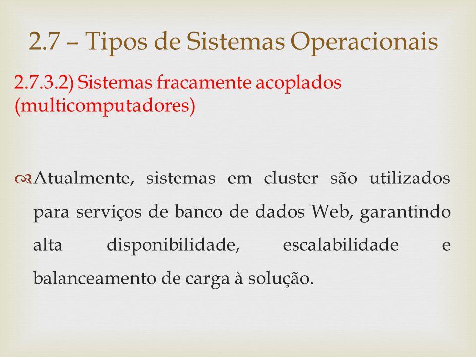 2.7.3.2) Sistemas fracamente acoplados 2.7 – Tipos de Sistemas Operacionais