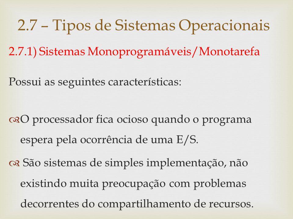 2.7.1) Sistemas Monoprogramáveis/Monotarefa 2.7 – Tipos de Sistemas Operacionais UCP Memória Principal Dispositivos de E/S Programa/ tarefa