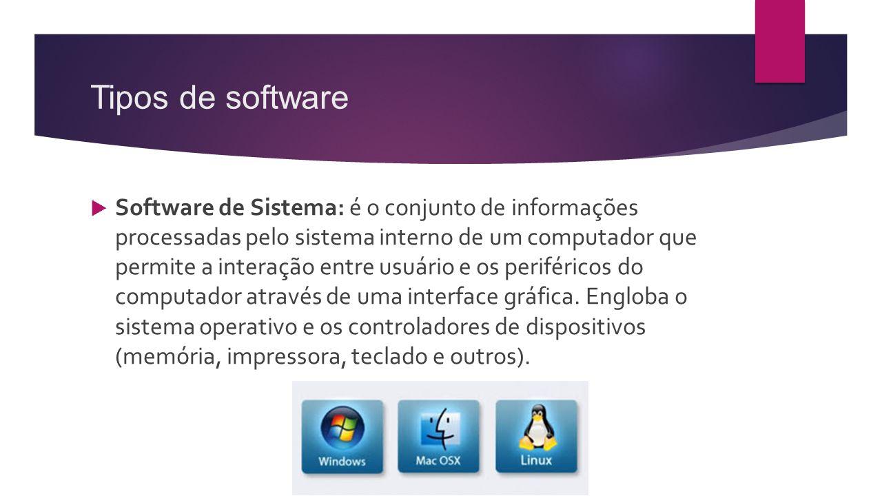 Tipos de software  Software de Sistema: é o conjunto de informações processadas pelo sistema interno de um computador que permite a interação entre u