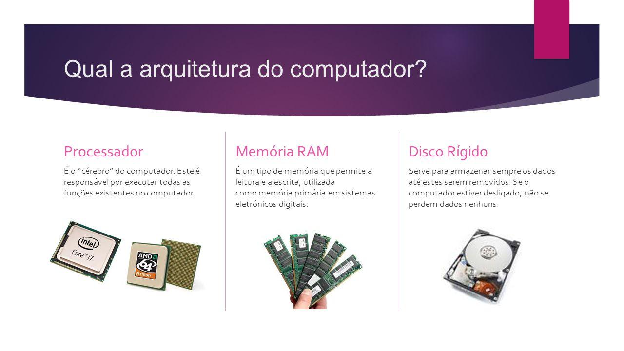 """Qual a arquitetura do computador? Processador É o """"cérebro"""" do computador. Este é responsável por executar todas as funções existentes no computador."""