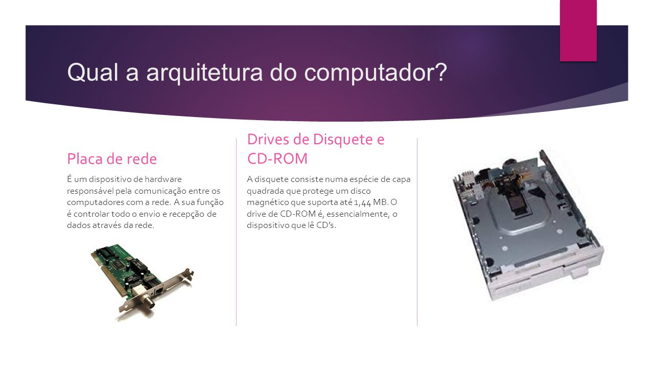 Qual a arquitetura do computador? Placa de rede É um dispositivo de hardware responsável pela comunicação entre os computadores com a rede. A sua funç
