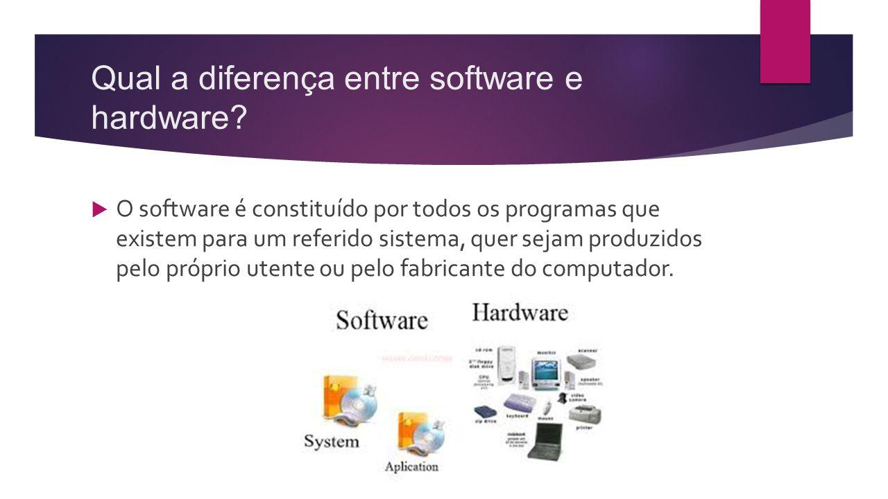 Qual a diferença entre software e hardware?  O software é constituído por todos os programas que existem para um referido sistema, quer sejam produzi
