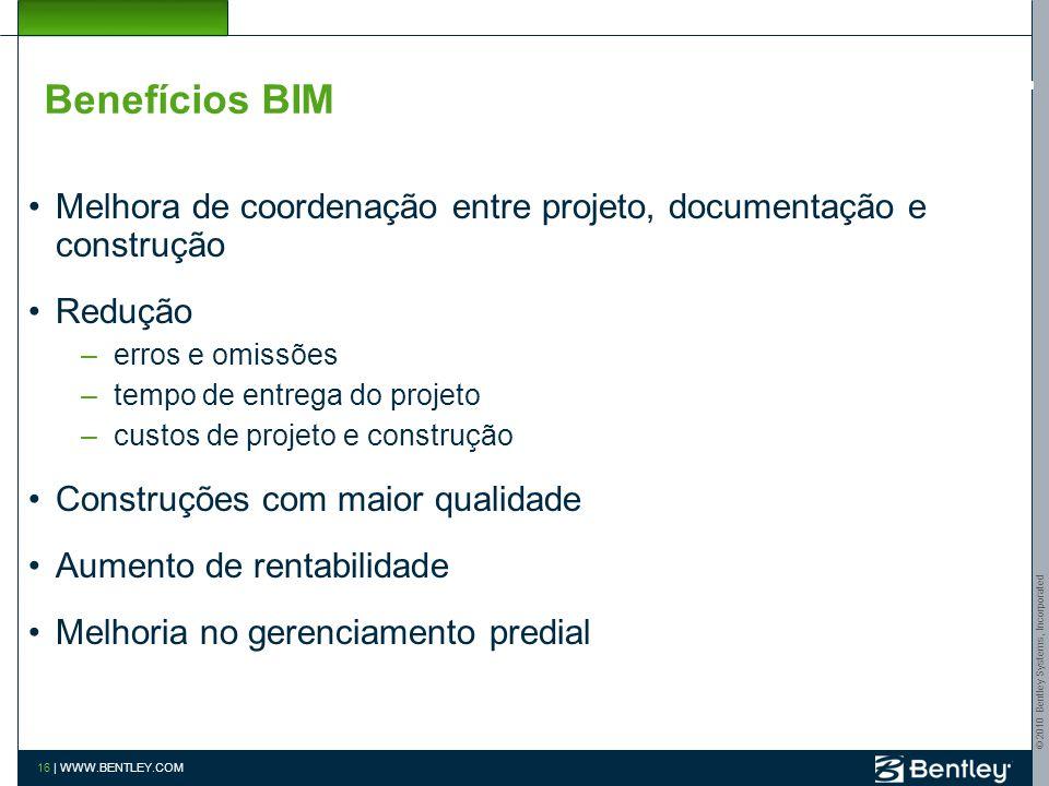 © 2010 Bentley Systems, Incorporated 15 | WWW.BENTLEY.COM CICLO DE VIDA gerenciamento de facilities projeto 3D multidisciplinar documentação detecção