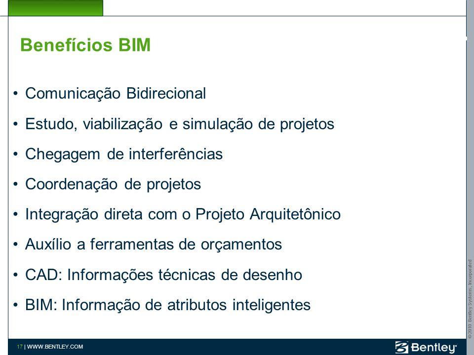 © 2010 Bentley Systems, Incorporated 16 | WWW.BENTLEY.COM Benefícios BIM Melhora de coordenação entre projeto, documentação e construção Redução –erro