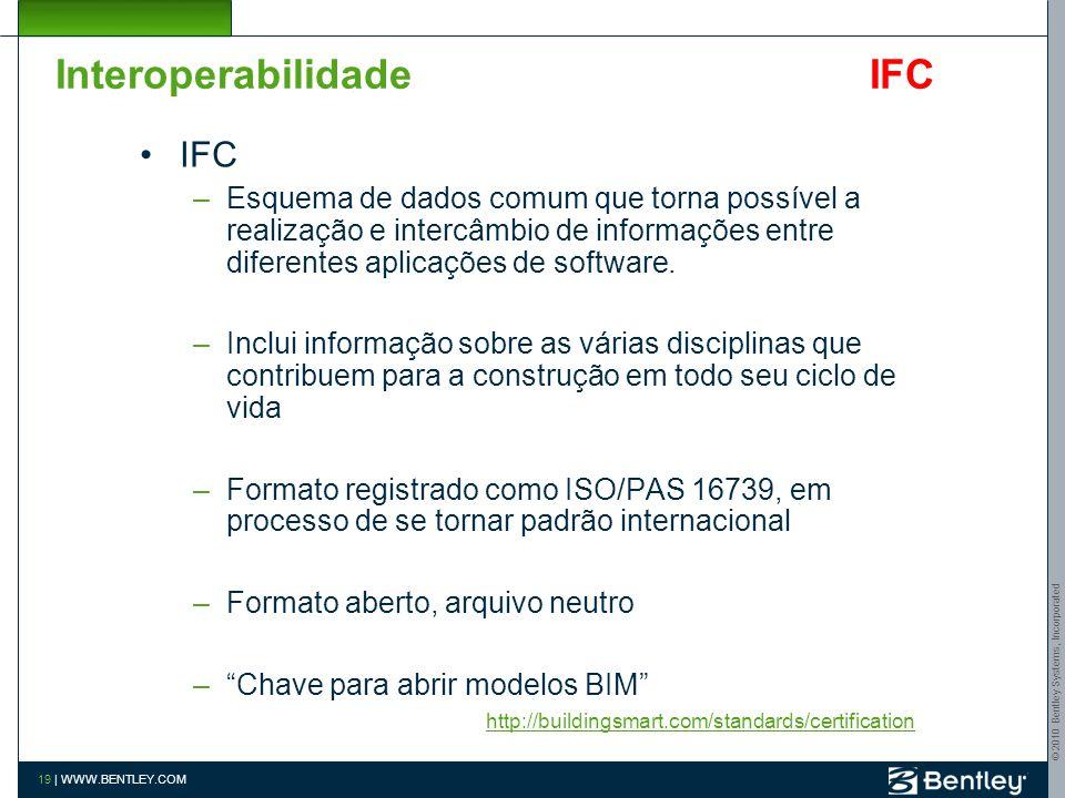 © 2010 Bentley Systems, Incorporated 18 | WWW.BENTLEY.COM Interoperabilidade IFC