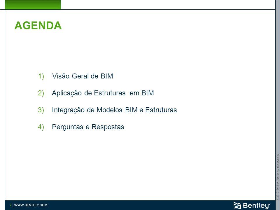 © 2010 Bentley Systems, Incorporated 2 | WWW.BENTLEY.COM AGENDA 1) Visão Geral de BIM 2)Aplicação de Estruturas em BIM 3)Integração de Modelos BIM e Estruturas 4)Perguntas e Respostas