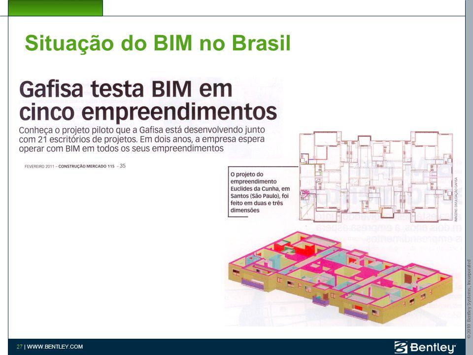 © 2010 Bentley Systems, Incorporated 26 | WWW.BENTLEY.COM Situação do BIM no Brasil Matec Engenharia Prêmio Be Inspired 2010 Advanced Brazilian Civil