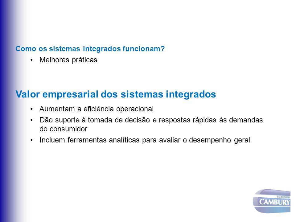 Como os sistemas integrados funcionam? Melhores práticas Valor empresarial dos sistemas integrados Aumentam a eficiência operacional Dão suporte à tom