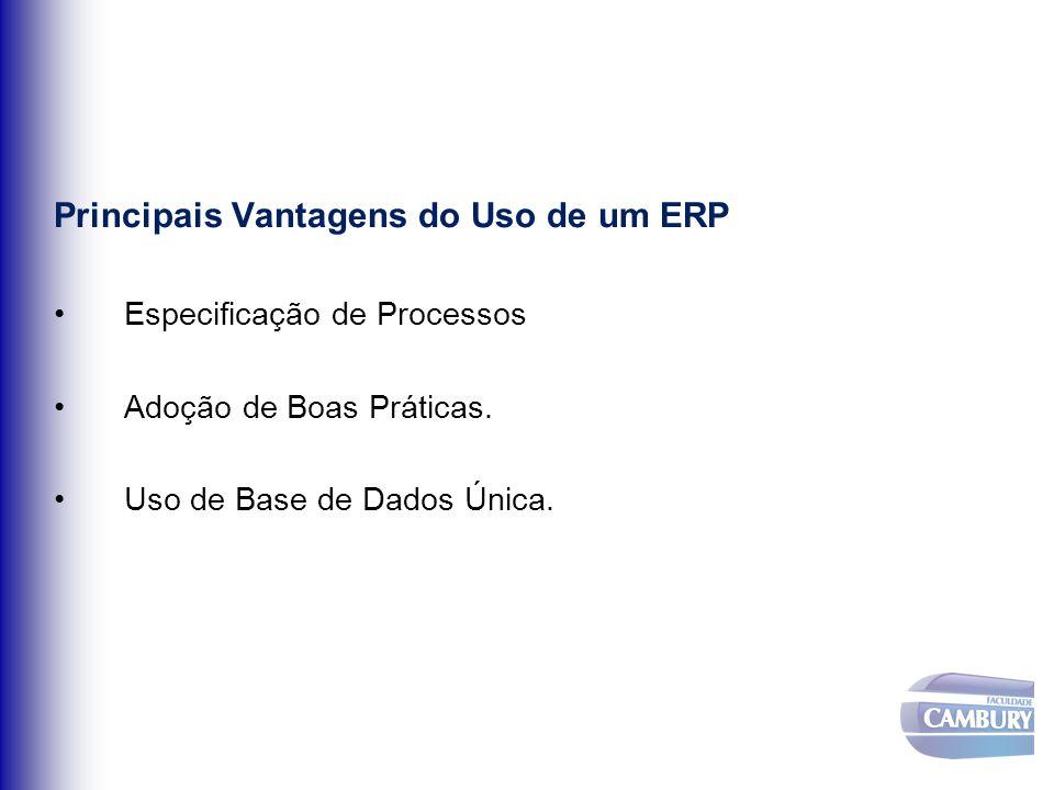 Principais Vantagens do Uso de um ERP Especificação de Processos Adoção de Boas Práticas. Uso de Base de Dados Única.