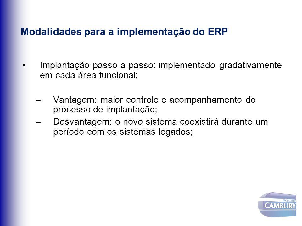 Modalidades para a implementação do ERP Implantação passo-a-passo: implementado gradativamente em cada área funcional; –Vantagem: maior controle e aco