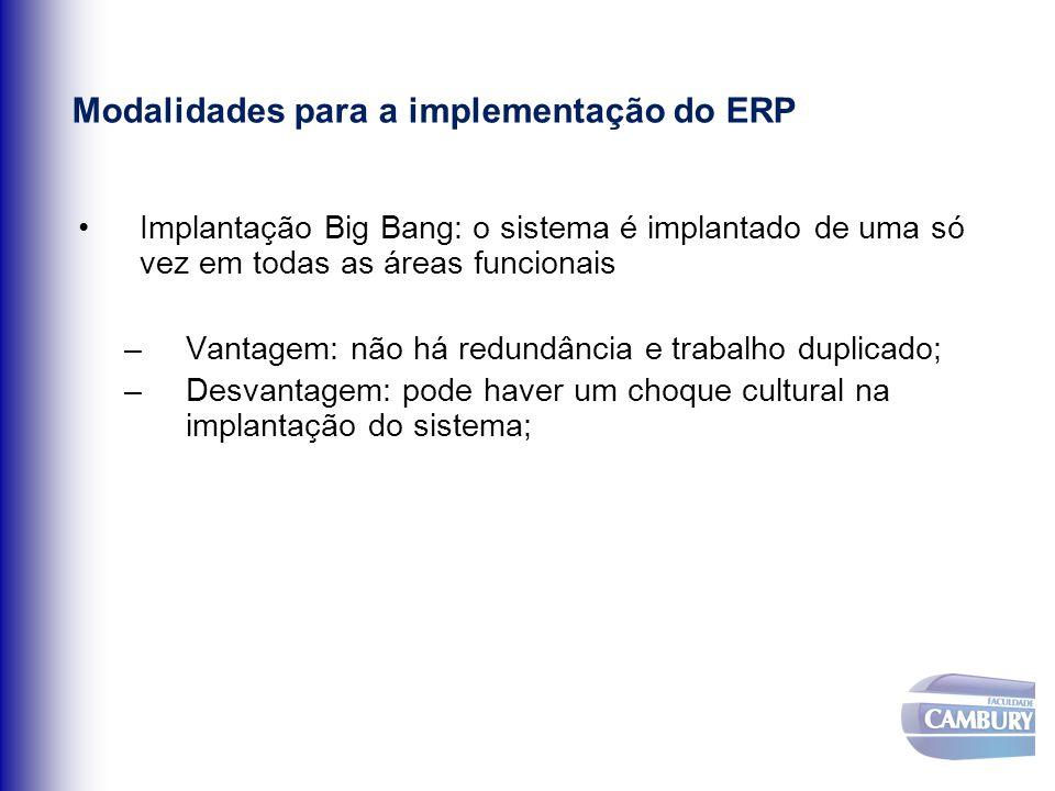 Modalidades para a implementação do ERP Implantação Big Bang: o sistema é implantado de uma só vez em todas as áreas funcionais –Vantagem: não há redu