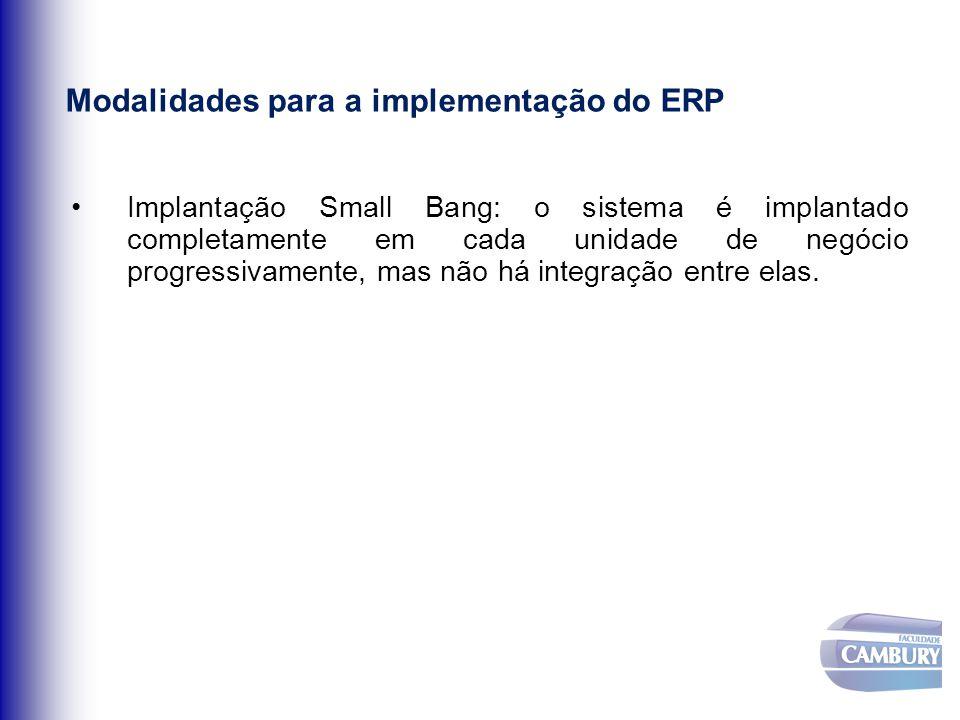 Modalidades para a implementação do ERP Implantação Small Bang: o sistema é implantado completamente em cada unidade de negócio progressivamente, mas