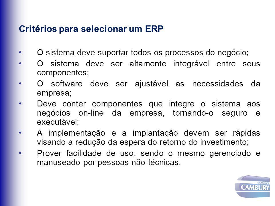 Critérios para selecionar um ERP O sistema deve suportar todos os processos do negócio; O sistema deve ser altamente integrável entre seus componentes
