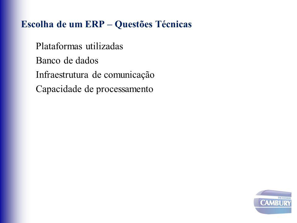 Escolha de um ERP – Questões Técnicas Plataformas utilizadas Banco de dados Infraestrutura de comunicação Capacidade de processamento