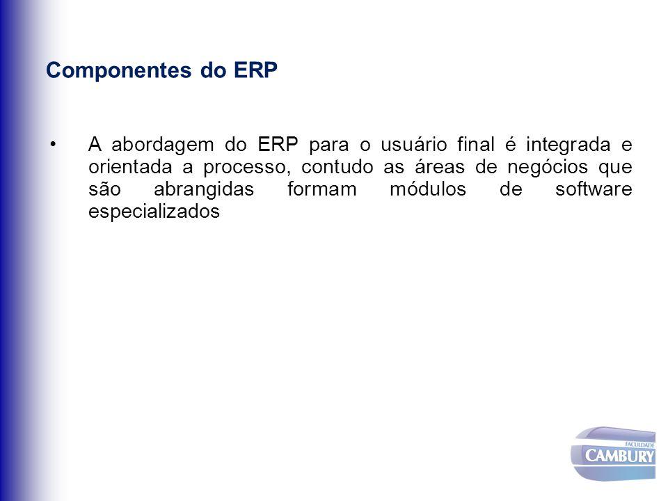 Componentes do ERP A abordagem do ERP para o usuário final é integrada e orientada a processo, contudo as áreas de negócios que são abrangidas formam
