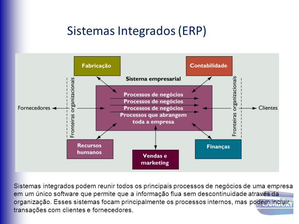Sistemas Integrados (ERP) Sistemas integrados podem reunir todos os principais processos de negócios de uma empresa em um único software que permite q